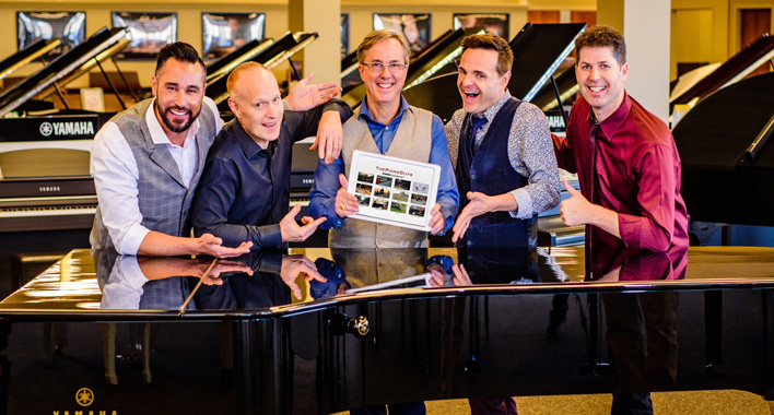 "The latest Piano Guys ""live"" at Jordan Kitt's Music in Fairfax, 7pm on 8/6!"