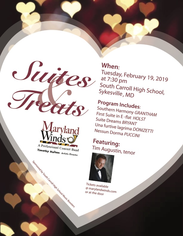 "Maryland Winds presents ""Suites & Treats"" on February 19th!"