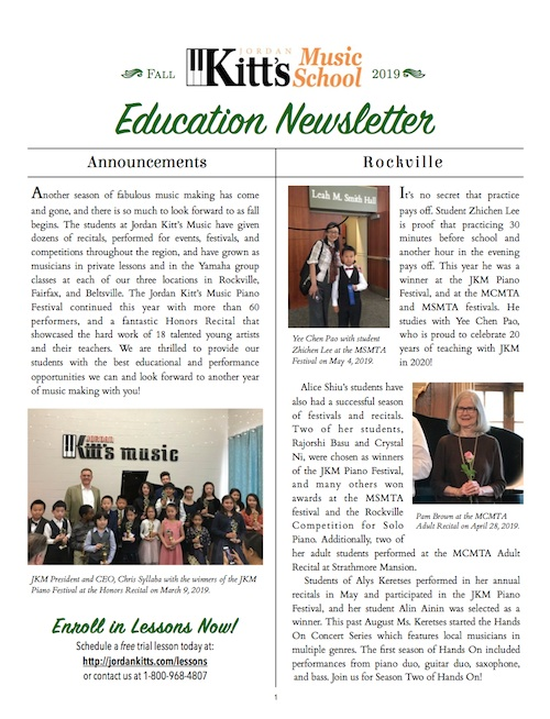 Get a preview of the Fall with the Jordan Kitt's Music School Newsletter!