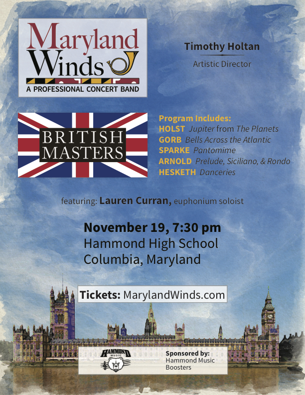 The British Masters performed by Maryland Winds, Nov. 20th, 2019